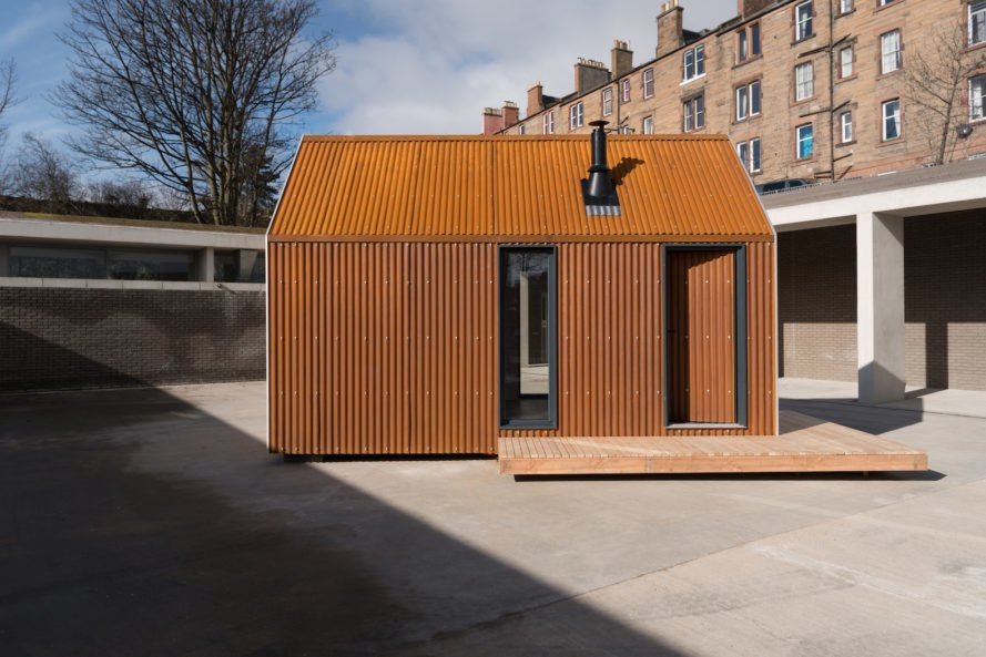 Artist Bothy prefab, Artist Bothy by Bobby Niven and Iain MacLeod, Artist Bothy Scotland, prefab Scottish cabin, artist residency prefab hut, artist residency Scottish Highlands, Highlands prefab architecture, Bothy project, cross laminated timber cabin prefab,
