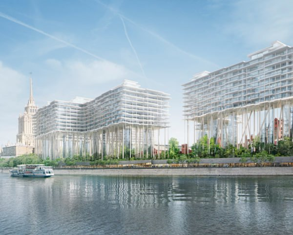 Badaevskiy Brewery redevelopment, Badaevskiy Brewery and Herzog & de Meuron, Horizontal Skyscraper Moscow by Herzog & de Meuron, Badaevskiy Brewery in Moscow, Moscow river new apartments, Badaevskiy Brewery adaptive reuse, brewery adaptive reuse, apartments on stilts, Horizontal Skyscraper