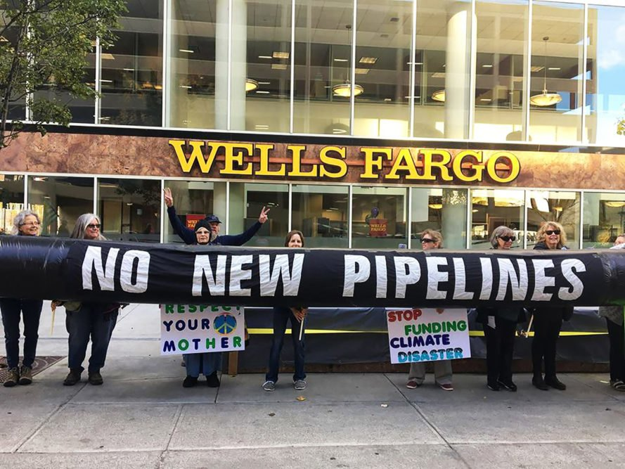Wells Fargo, no new pipelines, protest, protesters, bank, pipeline