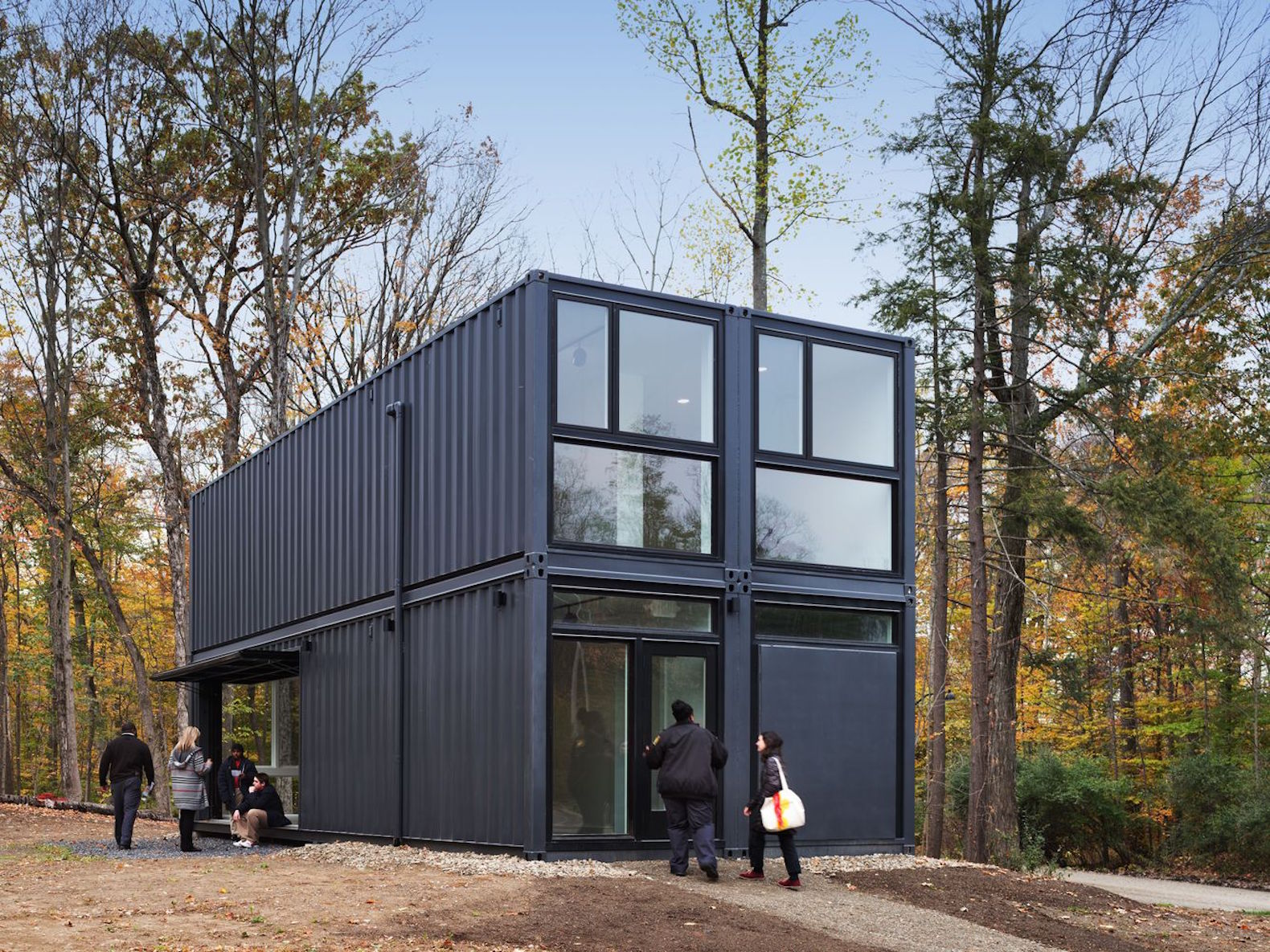 Media lab built from recycled shipping containers pops up in half a day
