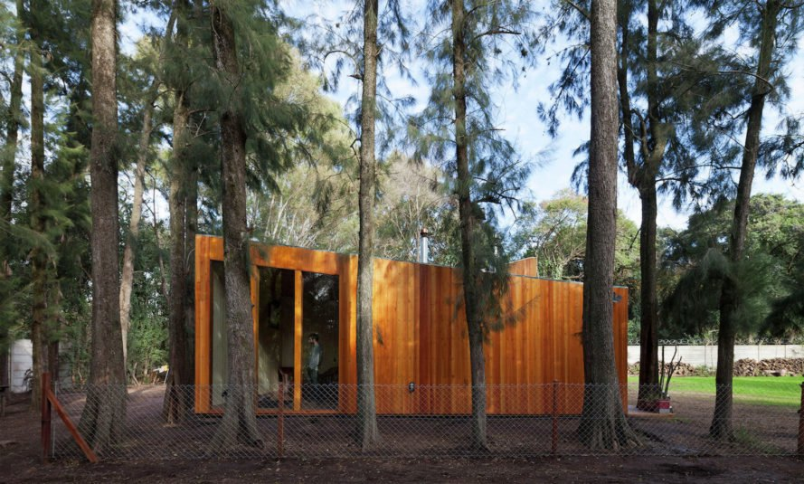 AA House by IR arquitectura, AA House Tortuguitas, green roofed Tortuguitas architecture, green roof thermally efficient architecture, earth walls and green roof, timber home with vertical louvers, vertical timber louver system, timber cladding earth walls