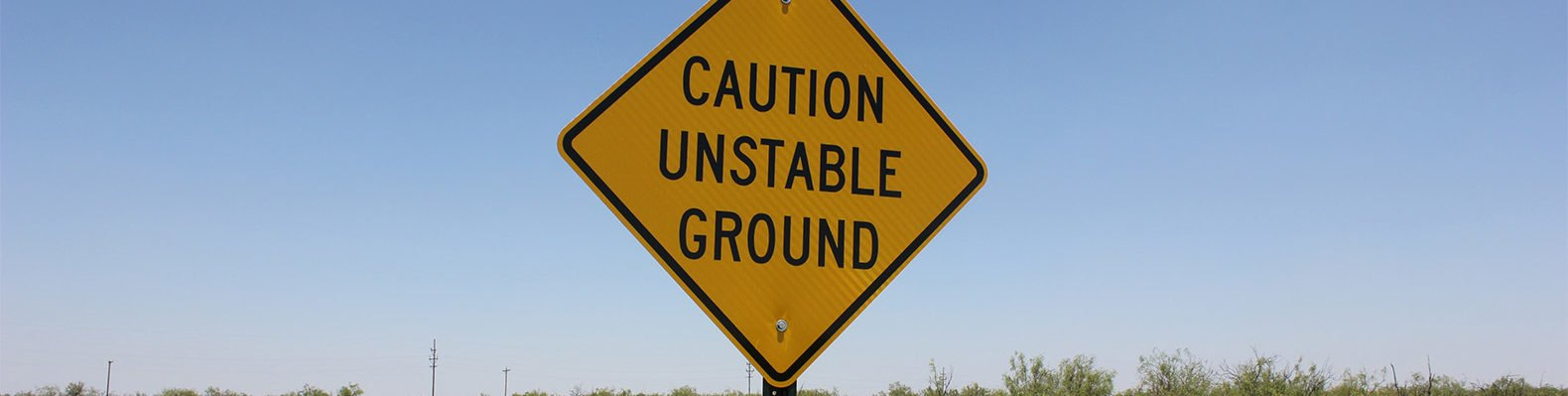 Texas, Wink, Wink sinkholes, sign, caution, unstable ground, caution unstable ground