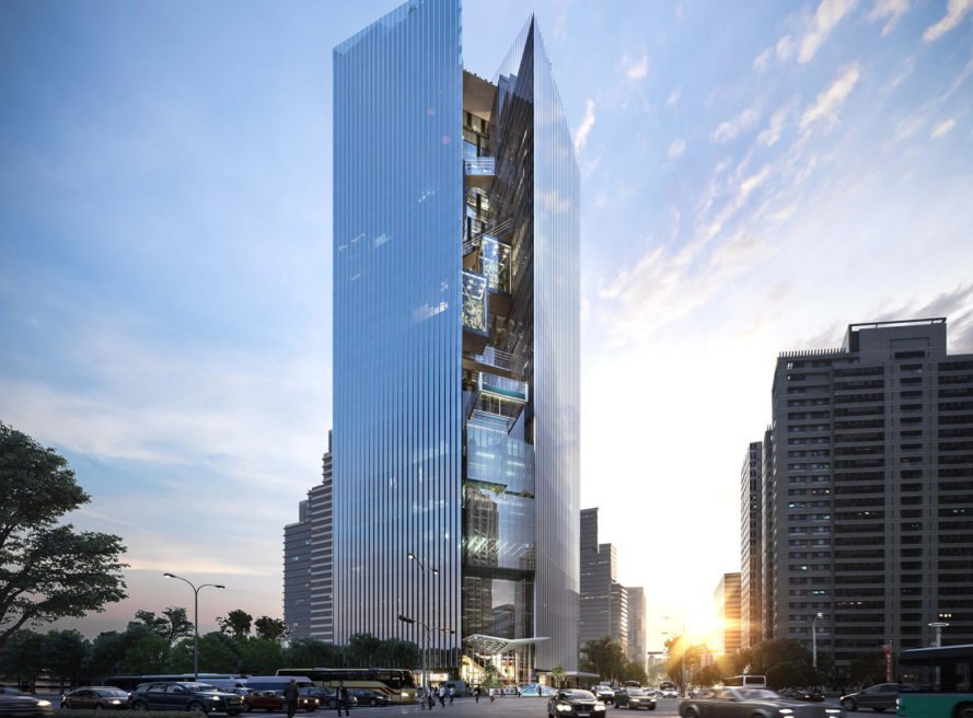 Aedas, Commercial Bank Headquarters, green tower, Taiwan, mixed-use tower, sky gardens, rooftop terraces, swimming pool, glass tower, glass facade