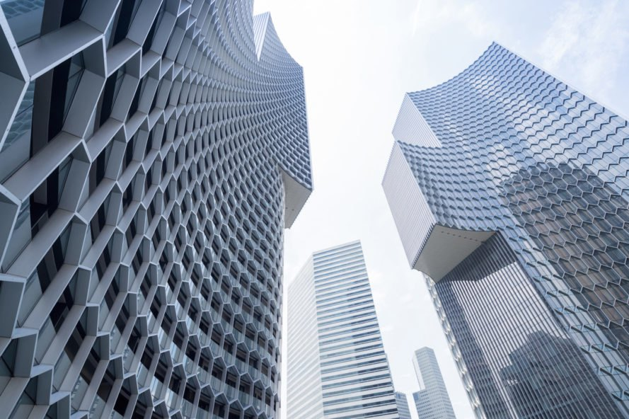 DUO by Büro Ole Scheeren, DUO Singapore, DUO in Kampong Glam, passively cooled architecture in Singapore, honeycomb facade architecture, honeycomb solar shades, Kampong Glam DUO buildings