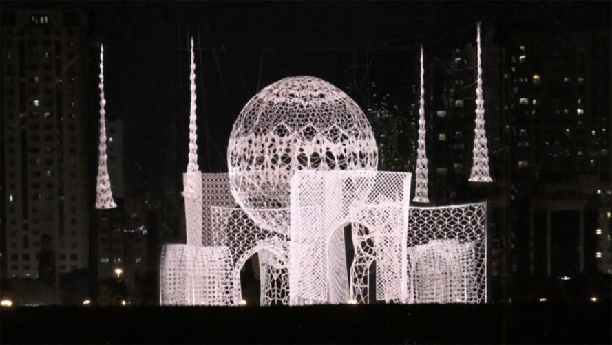 Flying Mosque installation, Choi+Shine Architects, mosque, temporary installation, crochet lace, patterns, meditation, green design