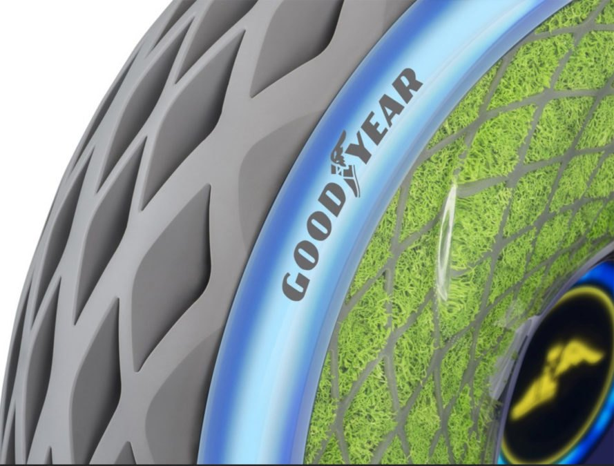 Goodyear, Goodyear Oxygene, Goodyear moss tire, moss tire, living tire 3D printed tire, Geneva International motor Show, 3D printed tire, 3D printing, green transportation, green tires, recycled tires, recycled tire powder, LED tires, smart tires
