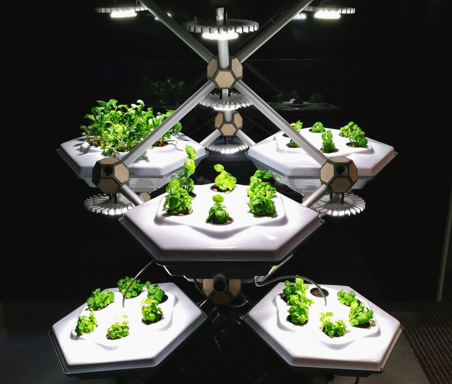 This hexagonal indoor farm grows more food in less space with 90% less water