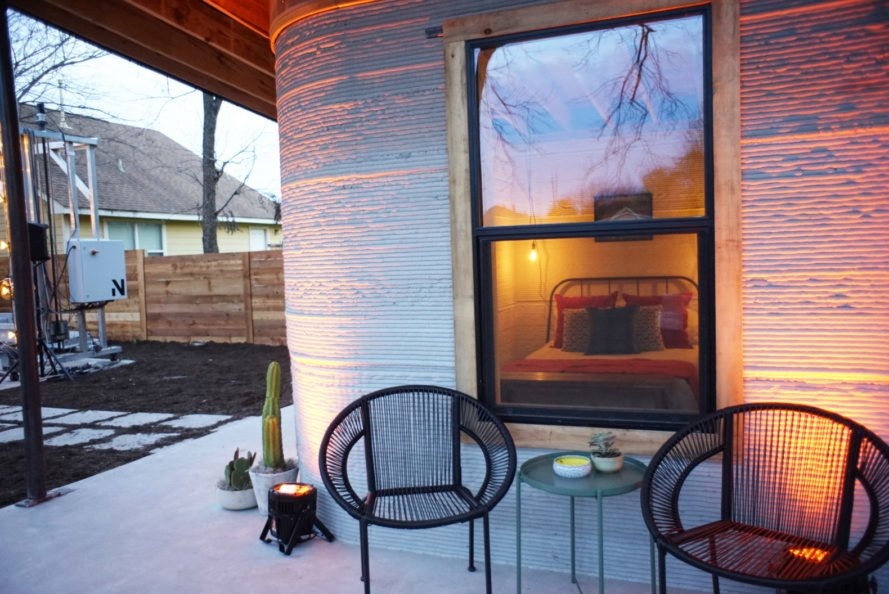 ICON, New Story, Austin, 3D-printed house, 3D-printed home, home, house, patio