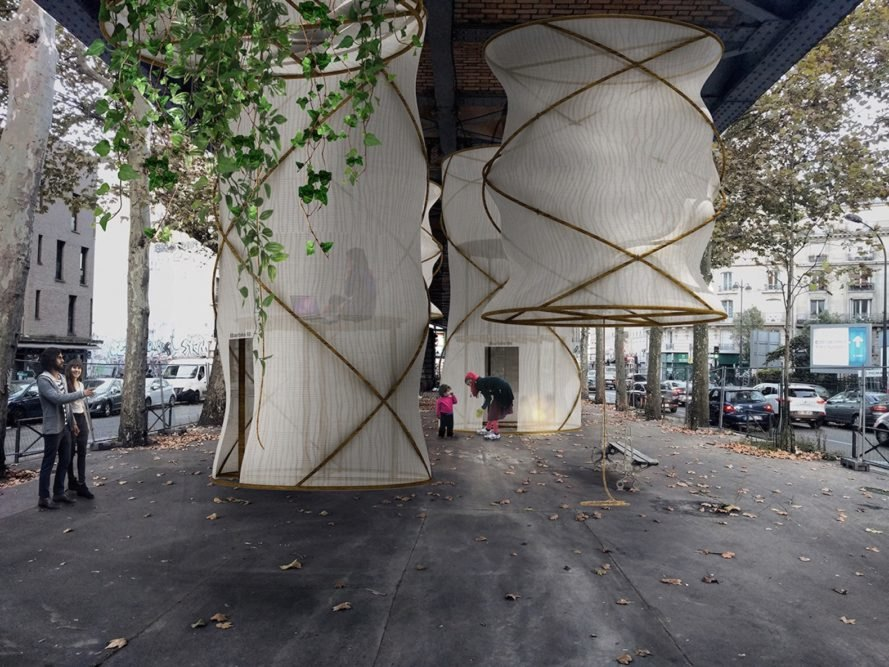 1week1project, Illuminate Paris! by 1week1project, lantern-like housing, refugee housing ideas in Paris, housing beneath bridges, reclaiming underused spaces architecture ideas, recycled temporary housing for refugees,