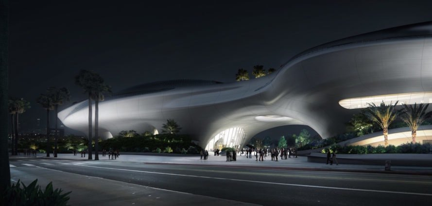 Futuristic spaceship lucas museum breaks ground in los for Star wars museum san francisco