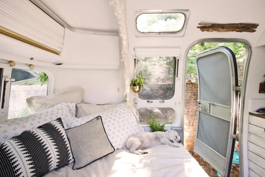 Mavis the Airstream, green renovation, Atlanta, Airstream, trailer, house on wheels, storage space, solar-powered home, container home, small spaces, tiny spaces, minimalist design, Scandinavian design