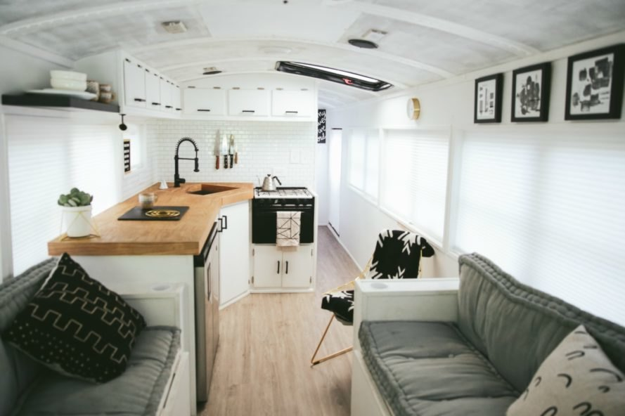 This Amazing Renovated School Bus Is A Bright Airy Home