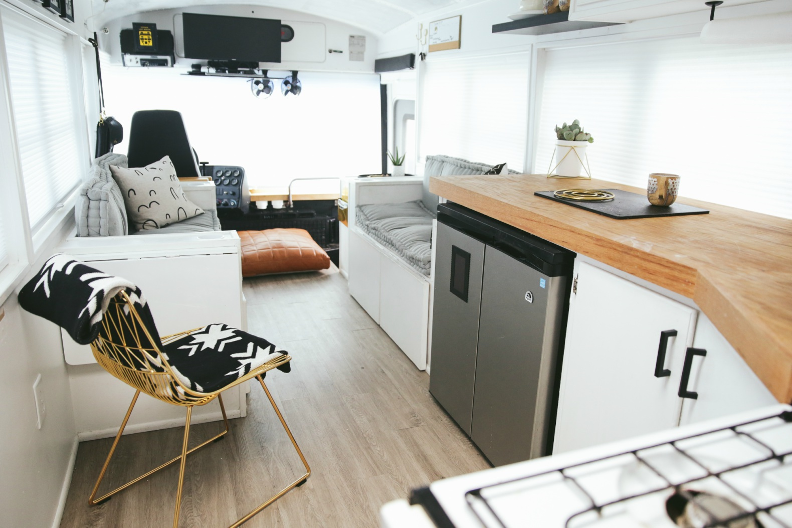 This amazing renovated school bus is a bright, airy home for