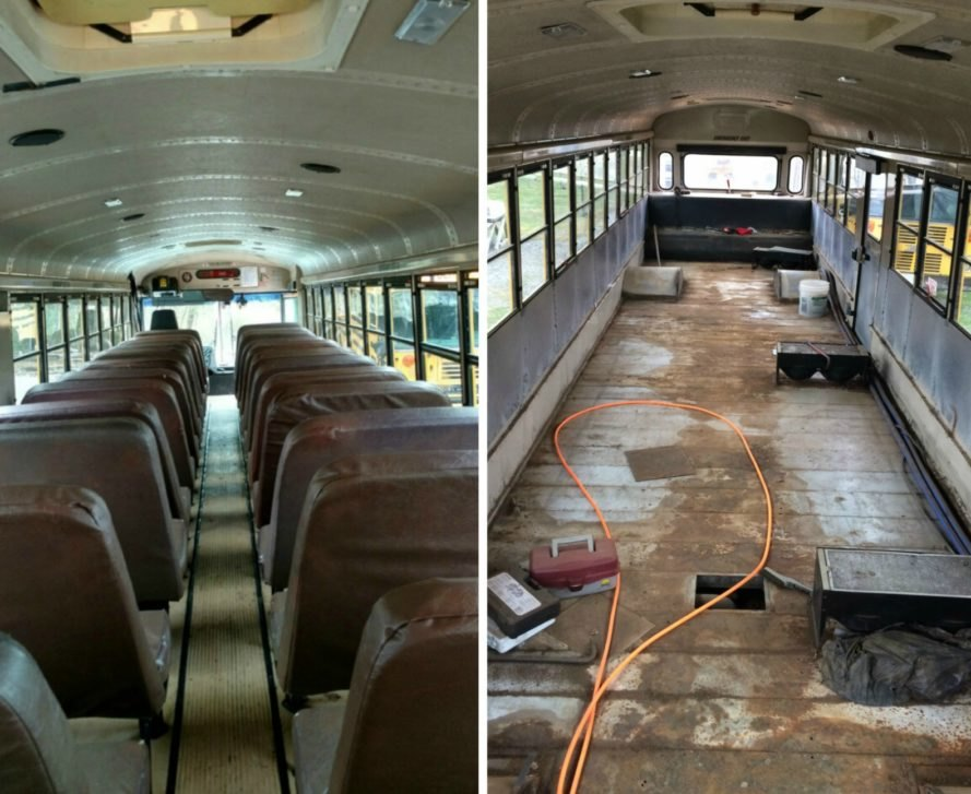 this amazing renovated school bus is a bright airy home for a