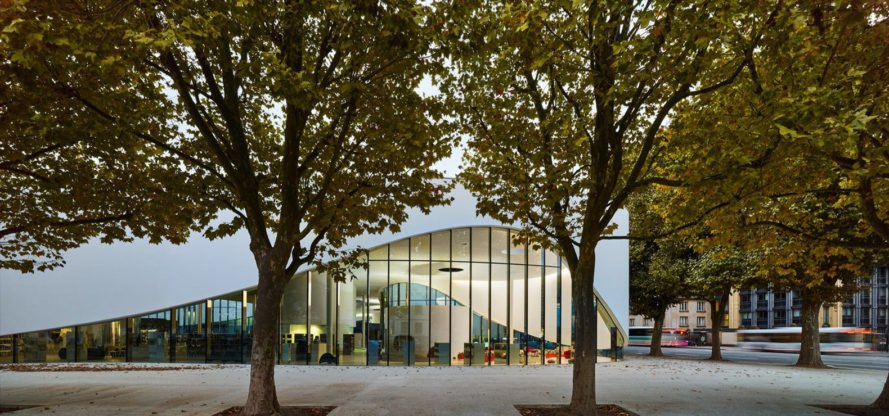 Media Library in Thionville, Dominique Coulon & associés, France, multi-purpose, green library, green roof, green architecture, floating architecture, natural light, ramps and walkways, promenade, public space, media library