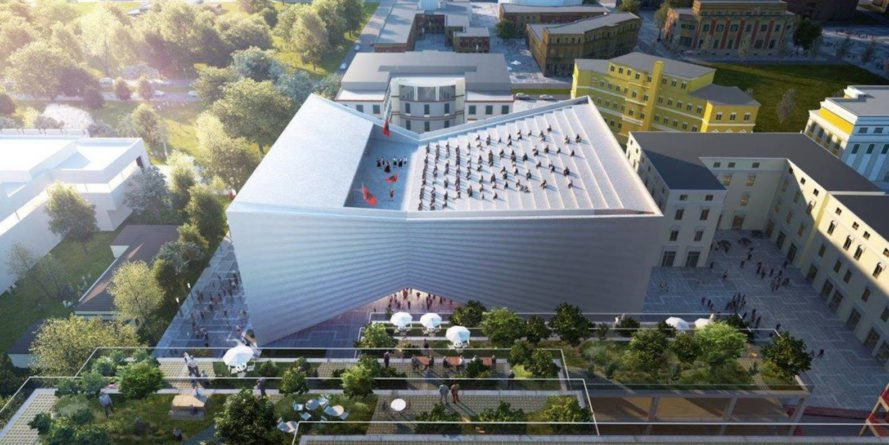 National Theater of Albania by Bjarke Ingels Group, urban renewal in Tirana, urban revitalization Tirana, Tirana national theater, theater architecture by BIG, bow tie-shaped architecture,
