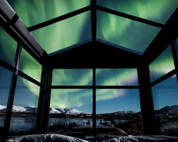 Panorama Glass Lodge, tiny house, Iceland, glass house, lodge, Reykjavík, green architecture, glass roof, natural light, Northern Lights, panoramic views
