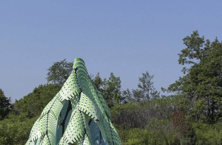 Pine Sanctuary by Marc Fornes / THEVERYMANY, Marc Fornes / THEVERYMANY in Canada, Pine Sanctuary sculpture, Pine Sanctuary architecture, Pine Sanctuary Riverwood Conservancy, digital fabrication large scale aluminum sculpture, aluminum laser cut sculpture
