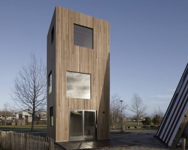 Slim Fit by Ana Rocha Architecture, Almere Port, Netherlands, Slim Fit in Almere Port, skinny tall architecture, skinny tall homes, skinny housing in Netherlands, birch plywood home