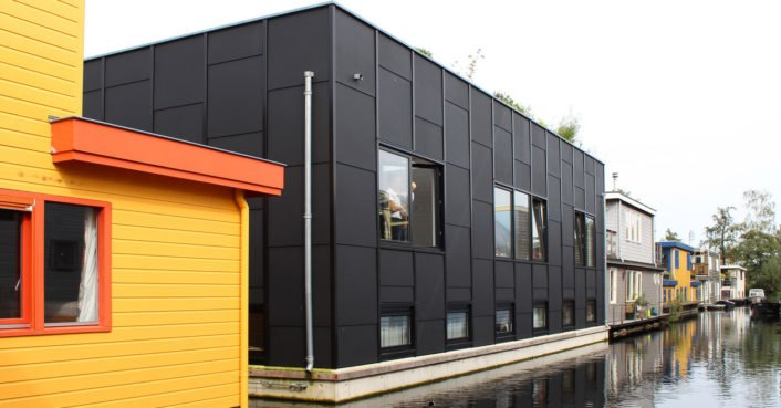 This prefab floating house in Amsterdam was inspired by Japanese tatami rooms