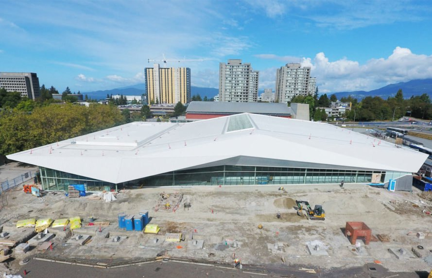 UBC Aquatic Center by MJMA, UBC Aquatic Center LEED Gold, LEED Gold aquatic center, LEED swimming center, University of British Columbia aquatics center, sustainable swimming facility, sustainable water reuse for pools, rainwater collection ad reuse for aquatics center