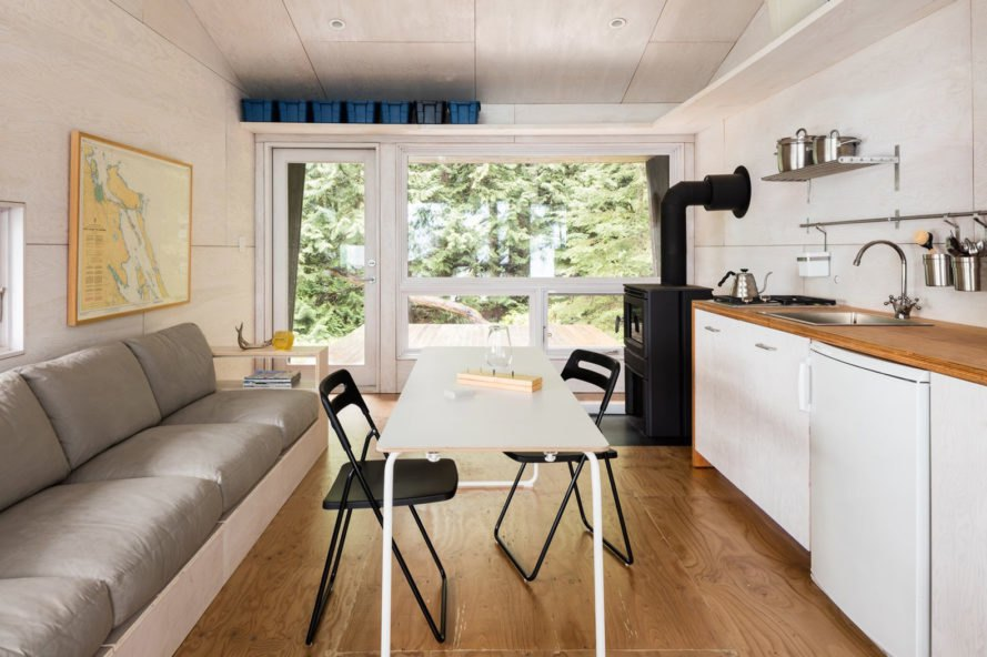 Battersby Howat, Valdes Island Shack, Hinterland Design, prefab cabin, Vancouver, off-grid cabin, British Columbia, cedar cladding, cabin, tiny house, solar power, rainwater harvesting, green architecture, plywood