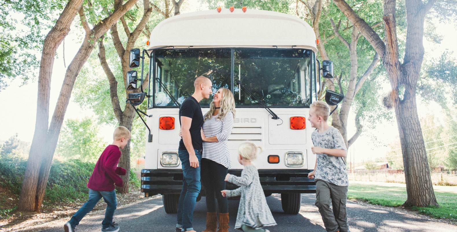 Family of five moves from a 2,100-square-foot-house to a beautifully renovated school bus