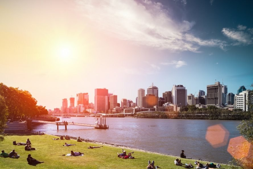 Brisbane, Australia, buildings, park, skyline, lawn, Queensland