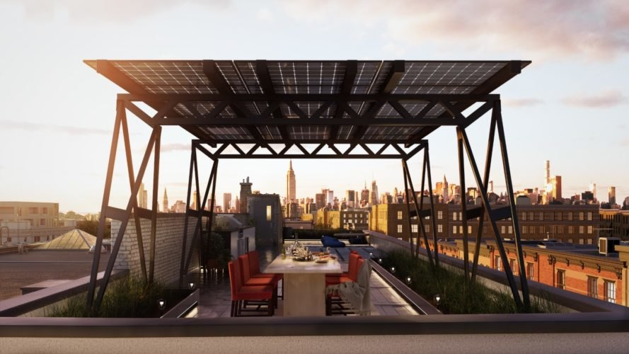 Brooklyn SolarWorks, Solar Canopy, Brooklyn SolarWorks Solar Canopy, solar panels, New York City, dinner, dining area