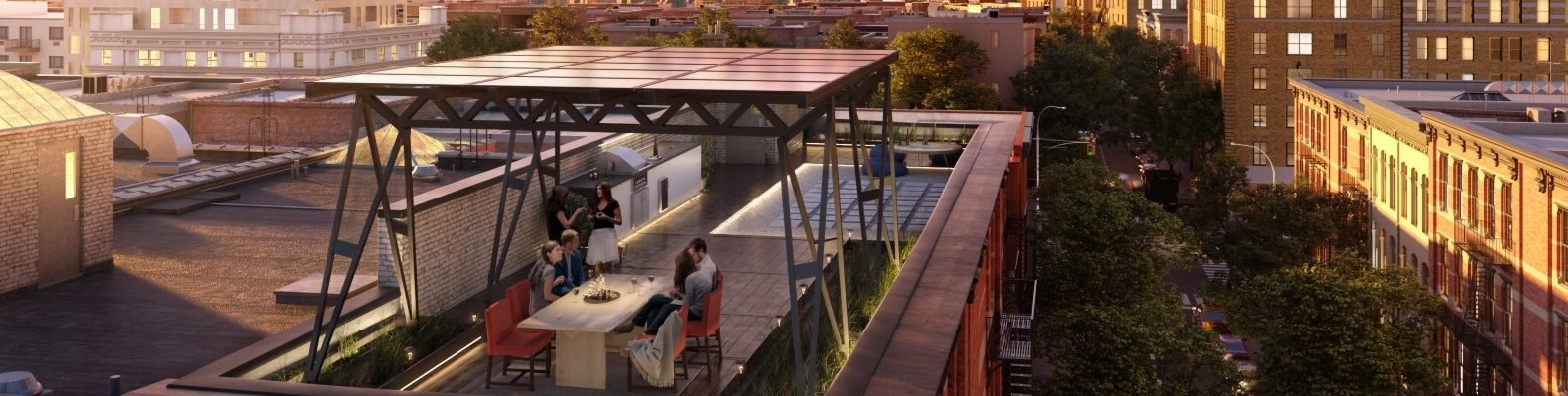 Rendering of the Solar Canopy, which is lofted above a rooftop dining area.