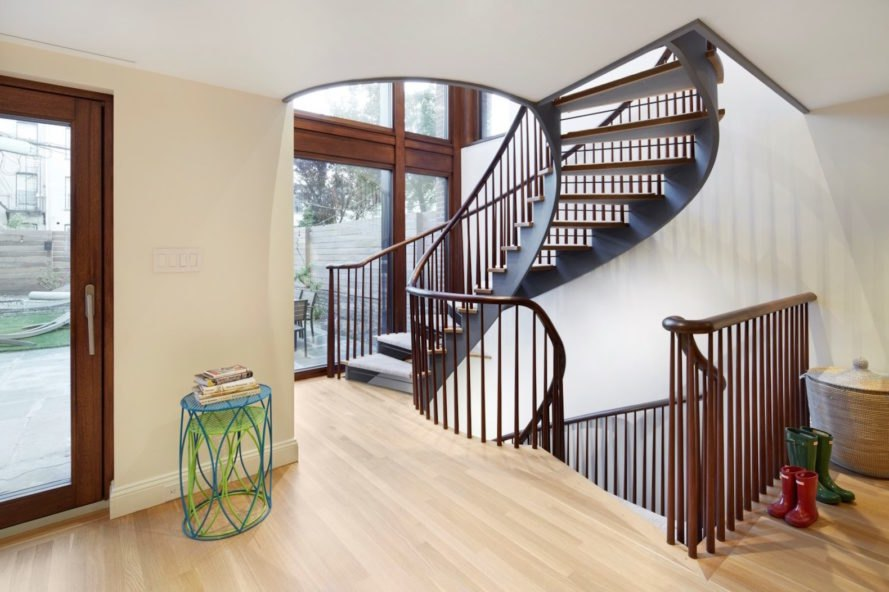 A spiral staircase in the Brooklyn passive plus house.
