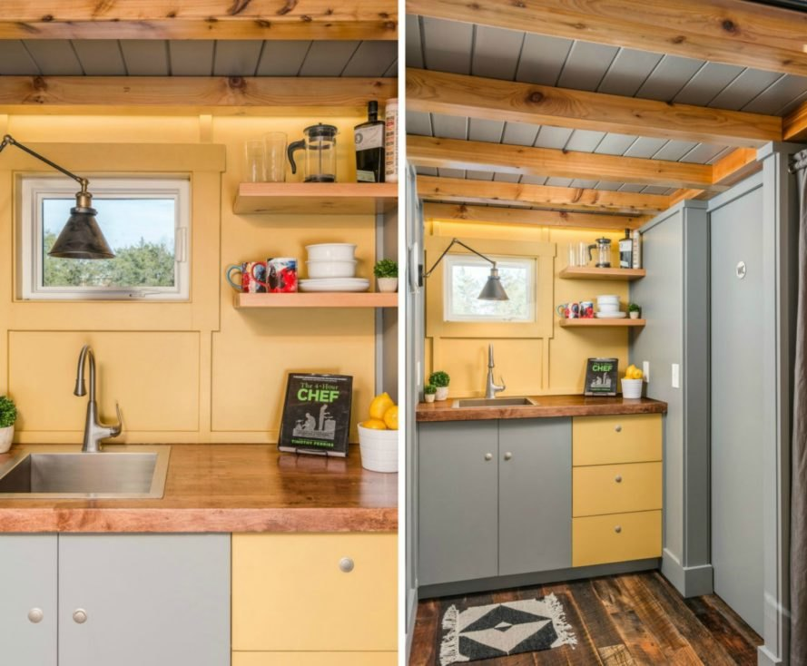 New Frontier Tiny Homes, Cornelia Tiny Home, Writer-Inspired Tiny House, tiny home design, tiny home living, living in a tiny home, cool tiny homes, Cornelia Funke, writers cabin, reclaimed wood, reclaimed timber, tiny writers studio, how to build a tiny home, space efficient furniture, sleeping lofts, vaulted ceilings in tiny homes