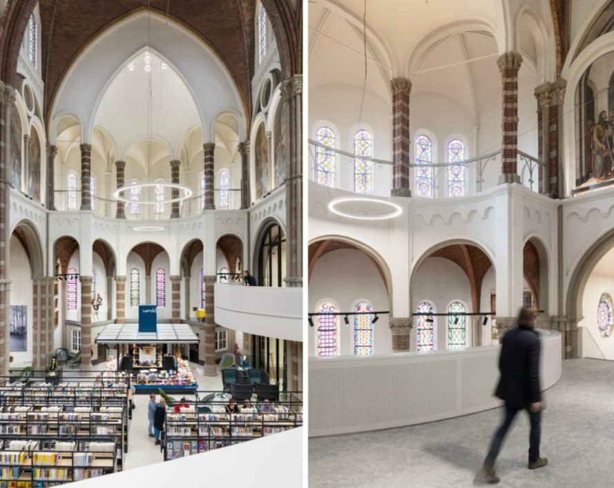 Molenaar & Bol & van Dillen Architects, De Petrus, church renovation, home renovation, community center design, libraries around the world, church converted into a library, dutch architecture, dutch architecture, dutch church, renovated church in the netherlands, green design, sustainable design, interesting buildings made out of churches, interesting libraries,