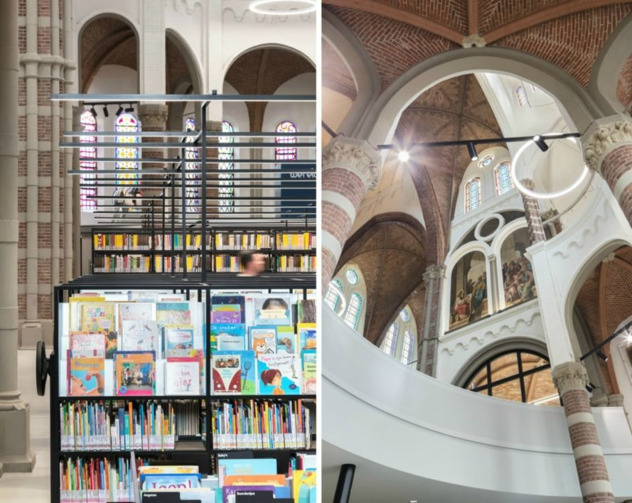 Molenaar & Bol & van Dillen Architects, De Petrus, church renovation, church library, library, books