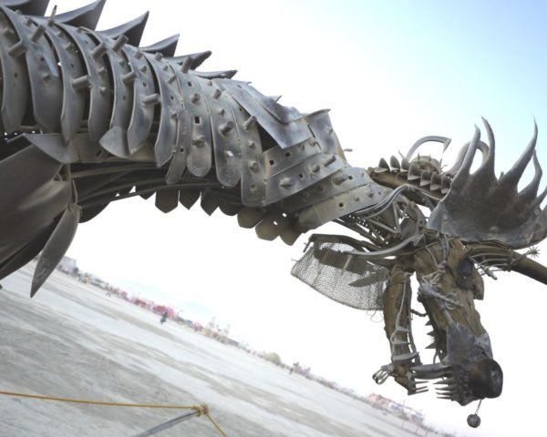 A mechanical dragon in the desert at Burning Man