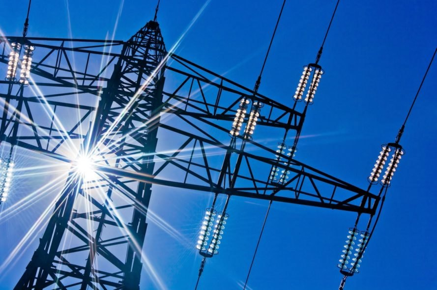 Electricity, high-voltage, power line, power lines, power, sun, blue sky