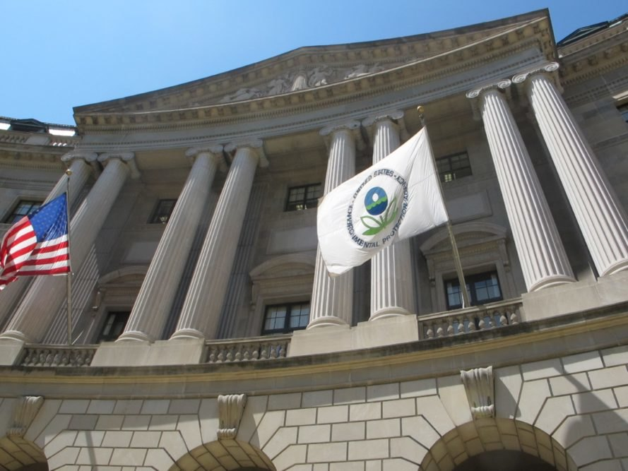 An Environmental Protection Agency (EPA) flag waves in the air at the agency's building in Washington, D.C.