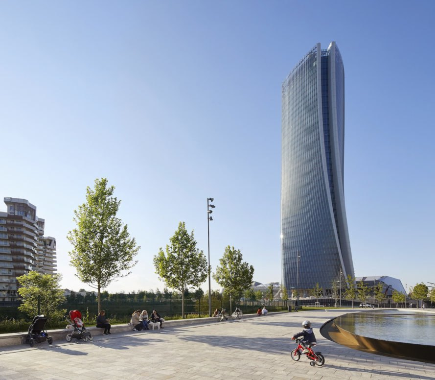 Surrounding park Generali Tower by Zaha Hadid Architects