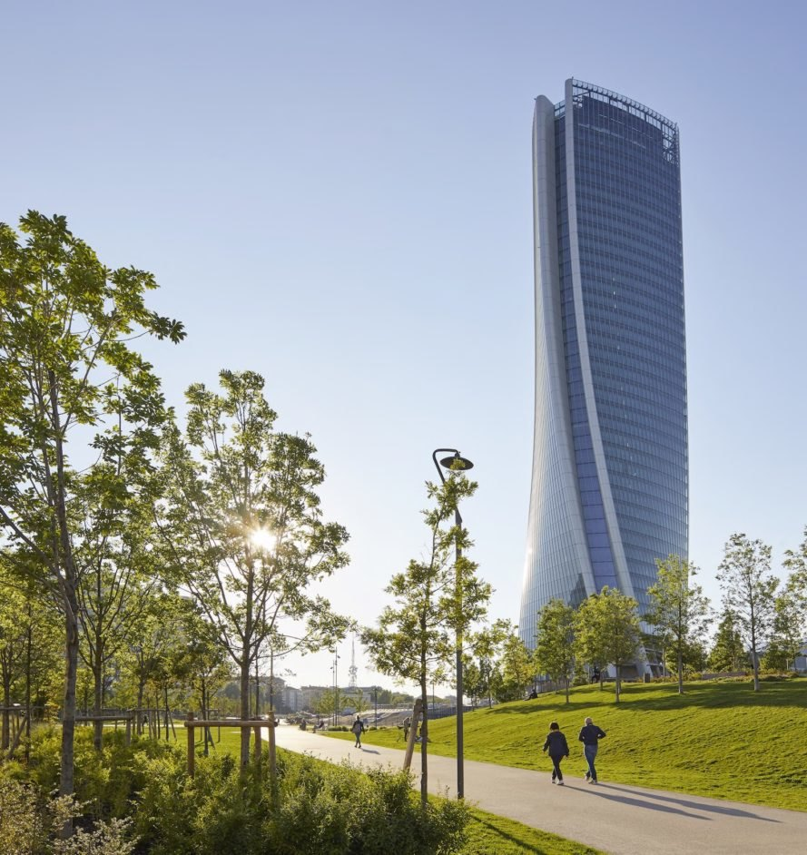 Sculptural tower view Generali Tower by Zaha Hadid Architects
