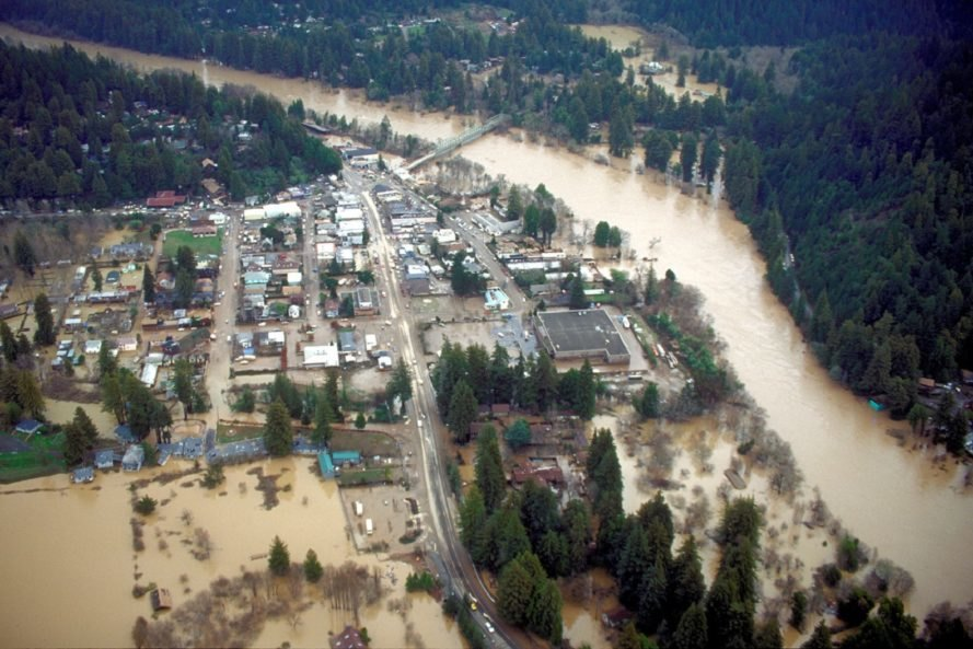 Aerial photograph of flooding in Guerneville California
