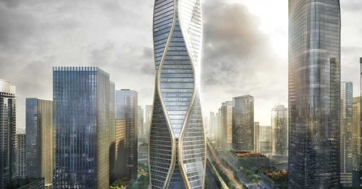 SOM unveils images of new undulating mixed-use tower in China