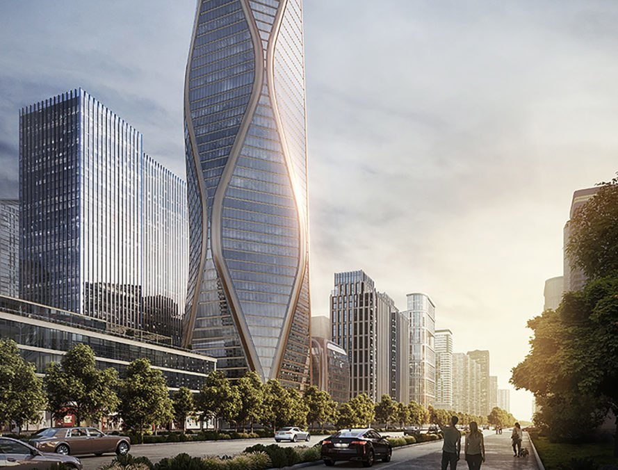 Hangzhou Wangchao Center, SOM, Skidmore, Owings & Merrill, mixed-use tower, Hangzhou, glass façade, glass panels, green architecture, green tower, flexible floor plan, undulating façade