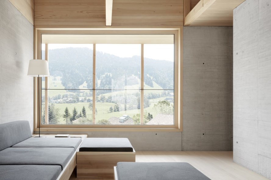 Höller House by Innauer-Matt Architekten, Bregenzerwald contemporary architecture, minimalist Austrian architecture, timber contemporary architecture in Austria, Höller House in Austria, wraparound covered terraces, homes with a concrete core