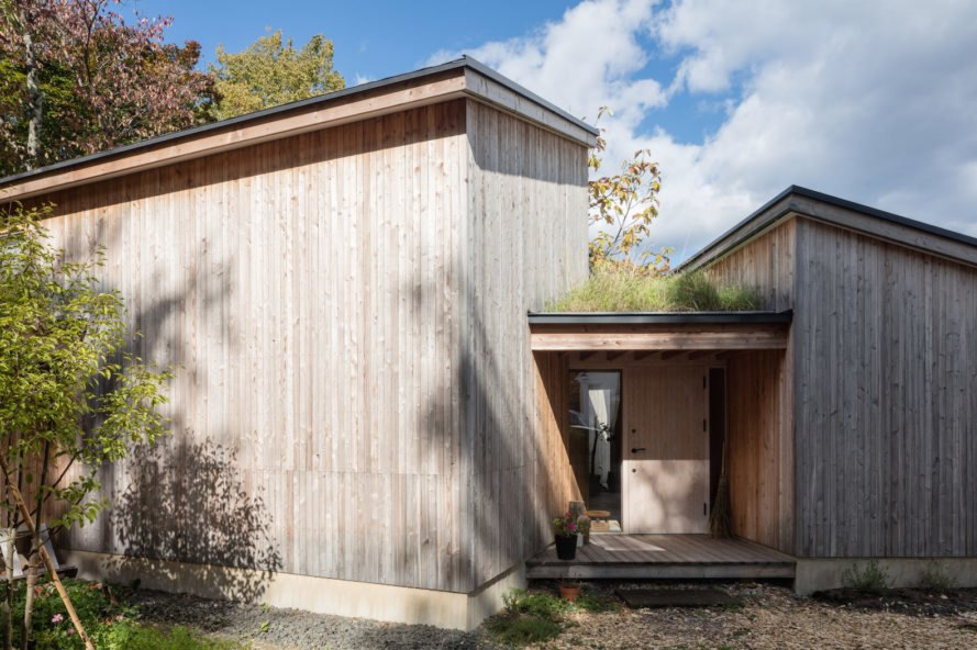 Monopitched roofs and green roof House in Tokiwa by Makoto Suzuki