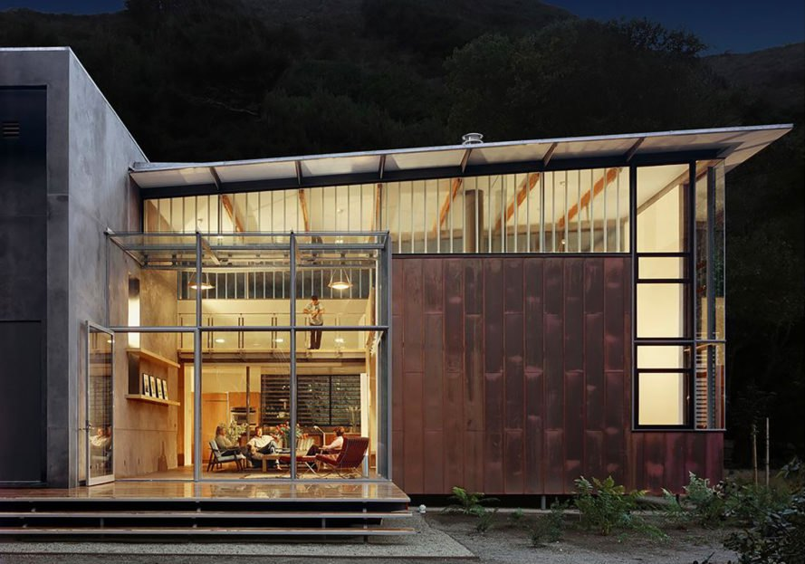 Exterior of home clad in copper and concrete