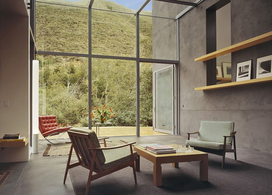 Jackson House, Fougeron Architecture, holiday home, house on stilts, Big Sur, California, copper, concrete, glass façade, family retreat, butterfly roof, terrace, green architecture