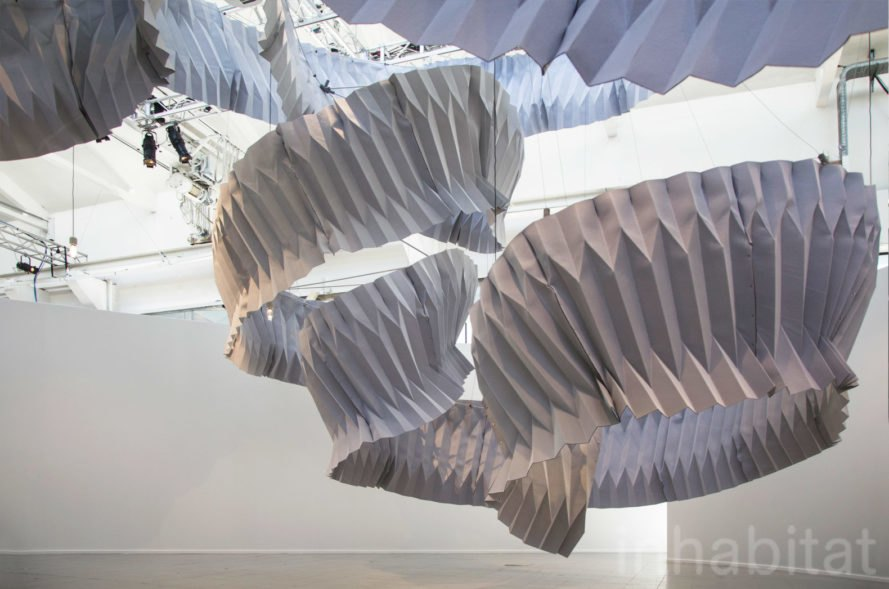 """Breathing"" air purifying installation by Kengo Kuma for Dassault Systèmes at Fuorisalone 2018 in Milan"
