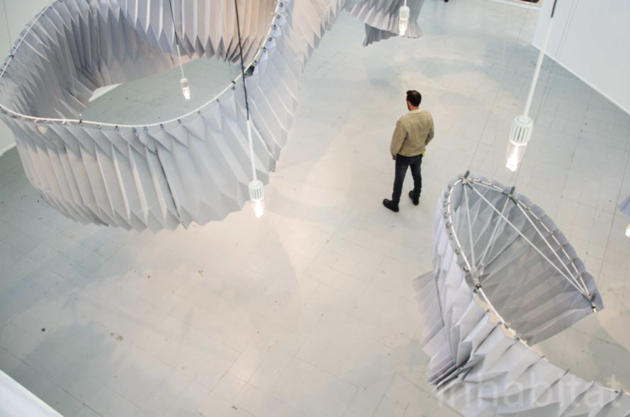 """Breathing"" air purifying installation by Kengo Kuma for Dassault Systèmes at Fuorisalone 2018 in Milan seen from above"