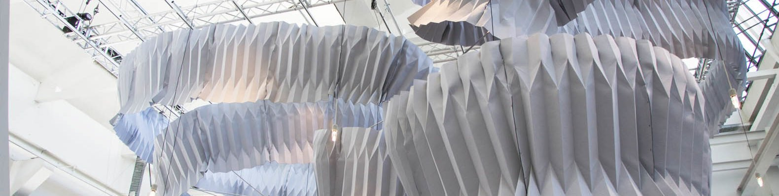 """The overall view of the """"Breathing"""" spiral by Kengo Kuma showcased at Superstudio in Zona Tortona during Milan Design Week 2018"""