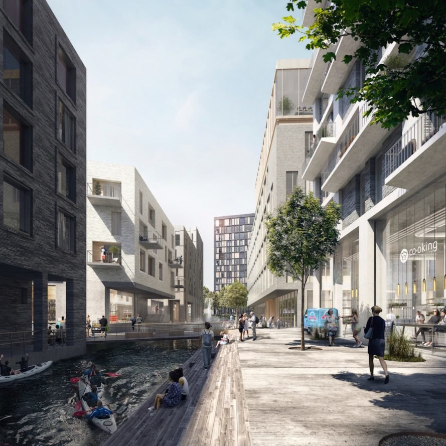 Key West development by Henning Larsen Architects, Architects A2RC, The Canal redevelopment plan Belgium, Brussels Canal redevelopment, urban farming Brussels, Anderlecht redevelopment, Brussels Key West canal masterplan